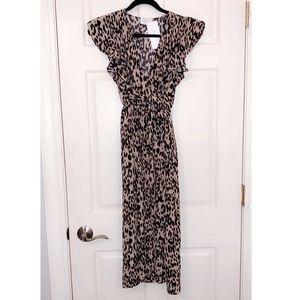 Sienna Sky Leopard Print Midi Dress NWT